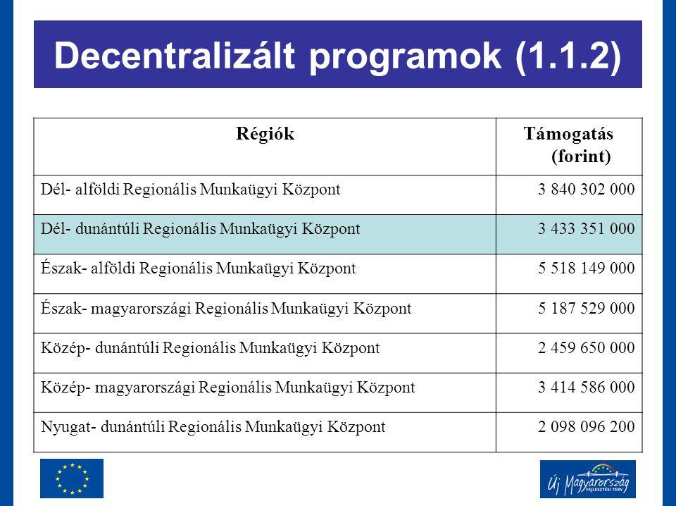 RégiókTámogatás (forint) Dél- alföldi Regionális Munkaügyi Központ3 840 302 000 Dél- dunántúli Regionális Munkaügyi Központ3 433 351 000 Észak- alföld