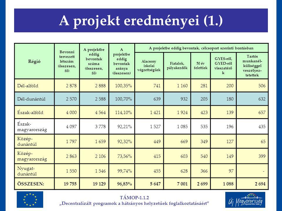 """A projekt eredményei (1.) TÁMOP-1.1.2 """"Decentralizált programok a hátrányos helyzetűek foglalkoztatásáért"""" Régió Bevonni tervezett létszám (összesen,"""