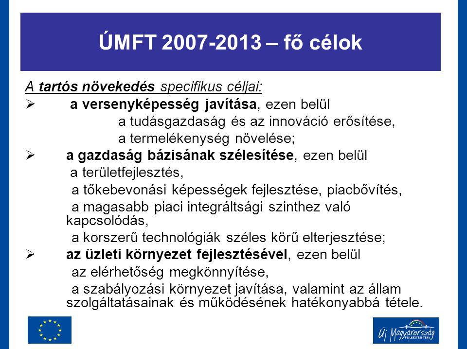 ÚMFT 2007-2013 – fő célok A tartós növekedés specifikus céljai:  a versenyképesség javítása, ezen belül a tudásgazdaság és az innováció erősítése, a