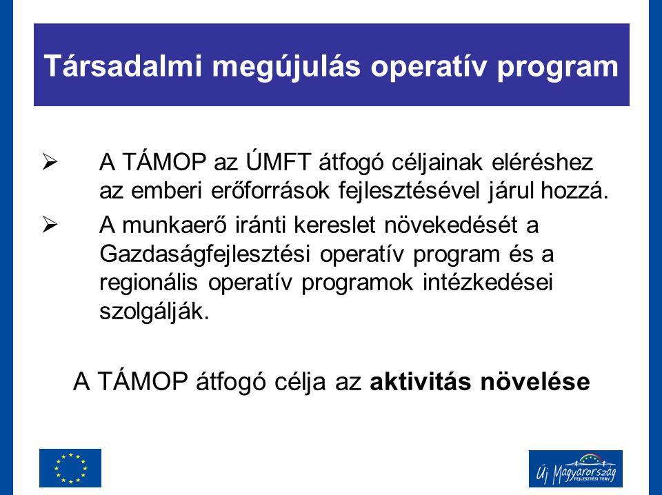 Társadalmi megújulás operatív program  A TÁMOP az ÚMFT átfogó céljainak eléréshez az emberi erőforrások fejlesztésével járul hozzá.  A munkaerő irán