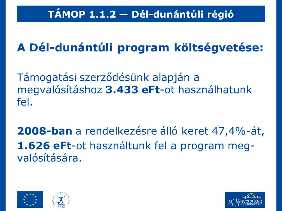 A Dél-dunántúli program költségvetése: Támogatási szerződésünk alapján a megvalósításhoz 3.433 eFt-ot használhatunk fel. 2008-ban a rendelkezésre álló