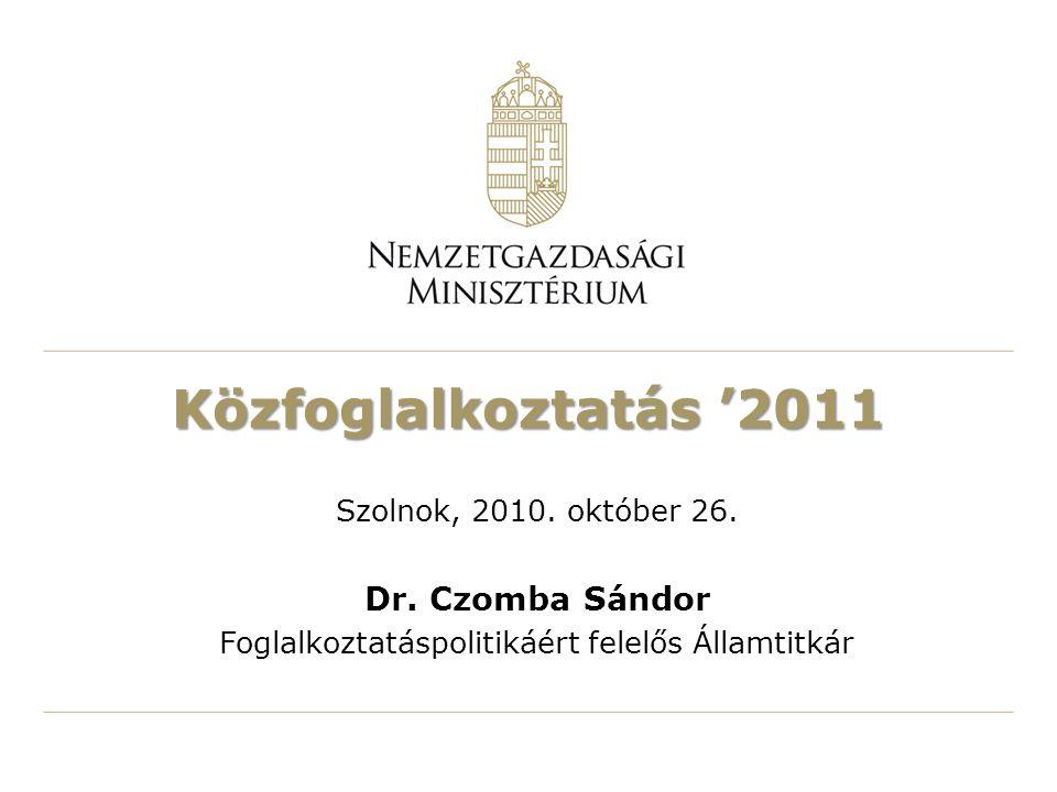 Közfoglalkoztatás '2011 Szolnok, 2010. október 26.