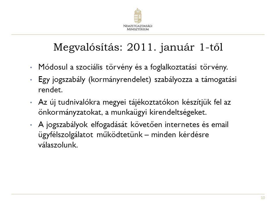 10 Megvalósítás: 2011. január 1-től Módosul a szociális törvény és a foglalkoztatási törvény.