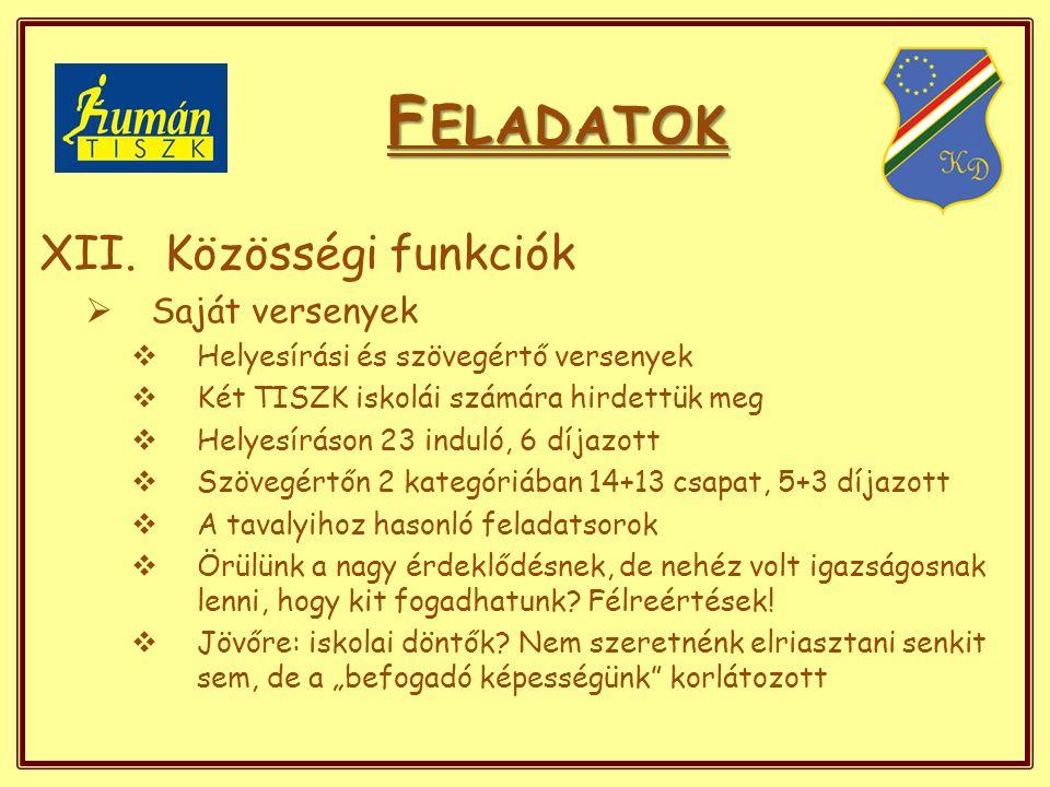 F ELADATOK XII.