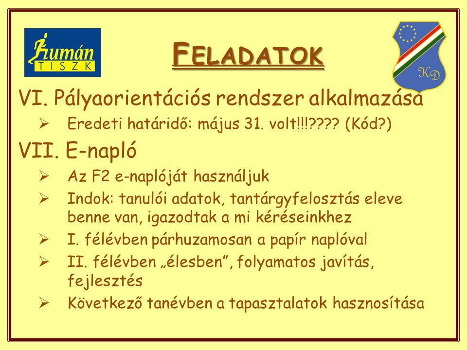 F ELADATOK VI. Pályaorientációs rendszer alkalmazása  Eredeti határidő: május 31.