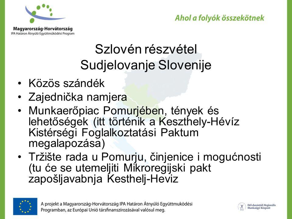 Szlovén részvétel Sudjelovanje Slovenije Közös szándék Zajednička namjera Munkaerőpiac Pomurjében, tények és lehetőségek (itt történik a Keszthely-Hévíz Kistérségi Foglalkoztatási Paktum megalapozása) Tržište rada u Pomurju, činjenice i mogućnosti (tu će se utemeljiti Mikroregijski pakt zapošljavabnja Kesthelj-Heviz