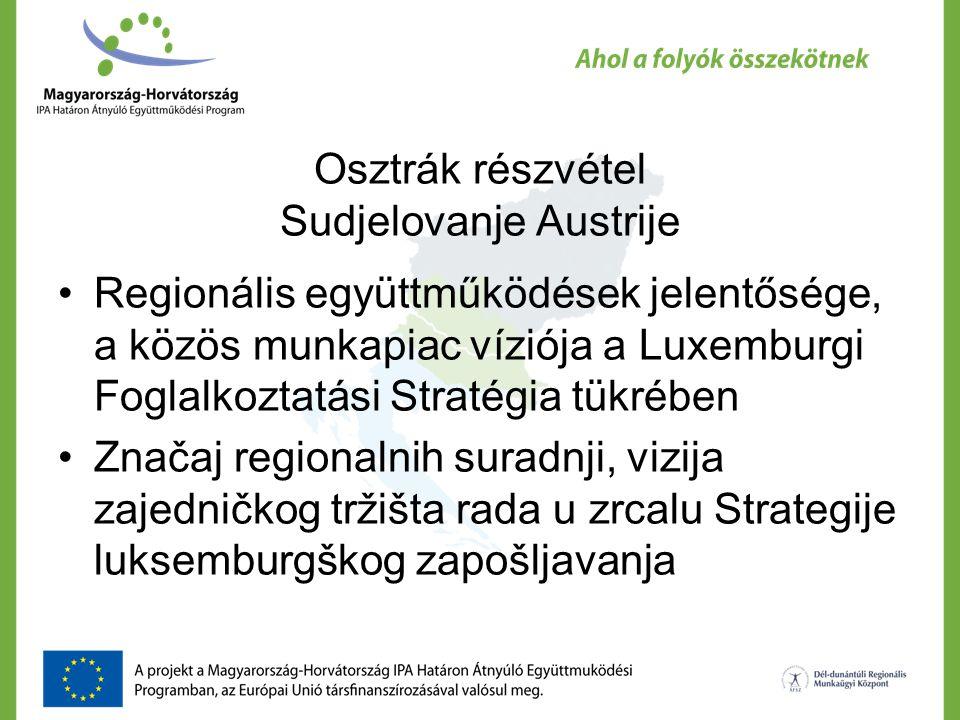 Osztrák részvétel Sudjelovanje Austrije Regionális együttműködések jelentősége, a közös munkapiac víziója a Luxemburgi Foglalkoztatási Stratégia tükrében Značaj regionalnih suradnji, vizija zajedničkog tržišta rada u zrcalu Strategije luksemburgškog zapošljavanja