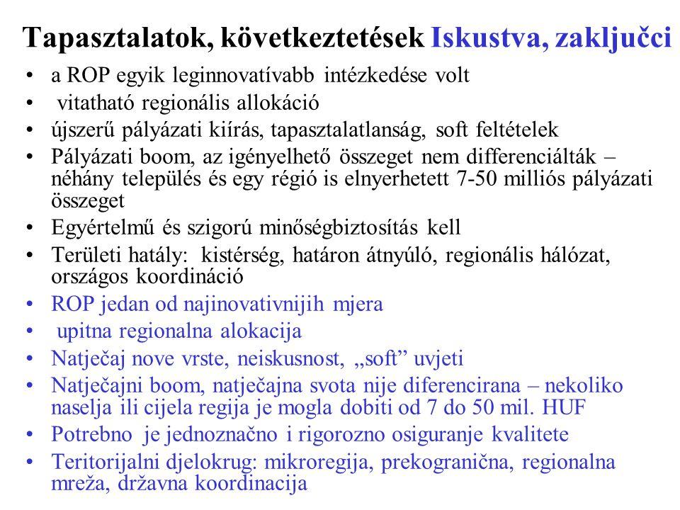 """Tapasztalatok, következtetések Iskustva, zaključci a ROP egyik leginnovatívabb intézkedése volt vitatható regionális allokáció újszerű pályázati kiírás, tapasztalatlanság, soft feltételek Pályázati boom, az igényelhető összeget nem differenciálták – néhány település és egy régió is elnyerhetett 7-50 milliós pályázati összeget Egyértelmű és szigorú minőségbiztosítás kell Területi hatály: kistérség, határon átnyúló, regionális hálózat, országos koordináció ROP jedan od najinovativnijih mjera upitna regionalna alokacija Natječaj nove vrste, neiskusnost, """"soft uvjeti Natječajni boom, natječajna svota nije diferencirana – nekoliko naselja ili cijela regija je mogla dobiti od 7 do 50 mil."""