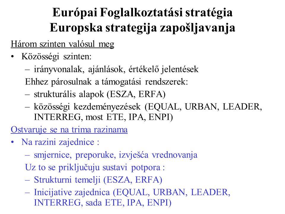 Európai Foglalkoztatási stratégia Europska strategija zapošljavanja Három szinten valósul meg Közösségi szinten: –irányvonalak, ajánlások, értékelő jelentések Ehhez párosulnak a támogatási rendszerek: –strukturális alapok (ESZA, ERFA) –közösségi kezdeményezések (EQUAL, URBAN, LEADER, INTERREG, most ETE, IPA, ENPI) Ostvaruje se na trima razinama Na razini zajednice : –smjernice, preporuke, izvješća vrednovanja Uz to se priključuju sustavi potpora : –Strukturni temelji (ESZA, ERFA) –Inicijative zajednica (EQUAL, URBAN, LEADER, INTERREG, sada ETE, IPA, ENPI)
