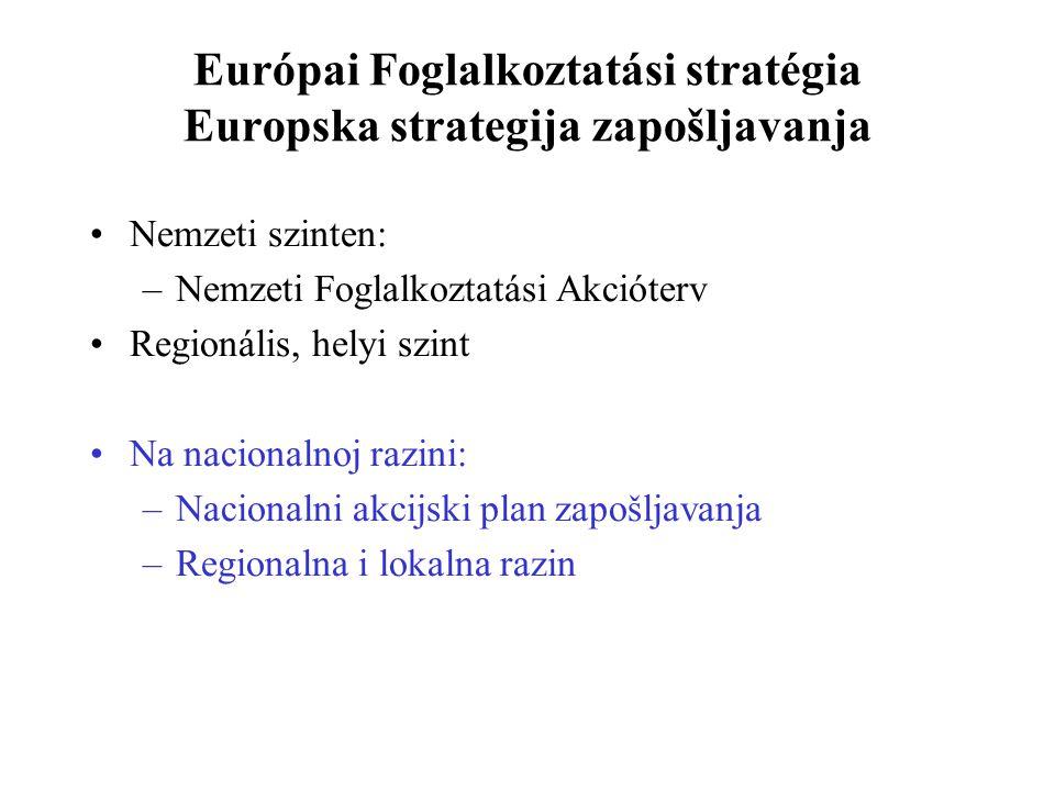 Európai Foglalkoztatási stratégia Europska strategija zapošljavanja Nemzeti szinten: –Nemzeti Foglalkoztatási Akcióterv Regionális, helyi szint Na nacionalnoj razini: –Nacionalni akcijski plan zapošljavanja –Regionalna i lokalna razin