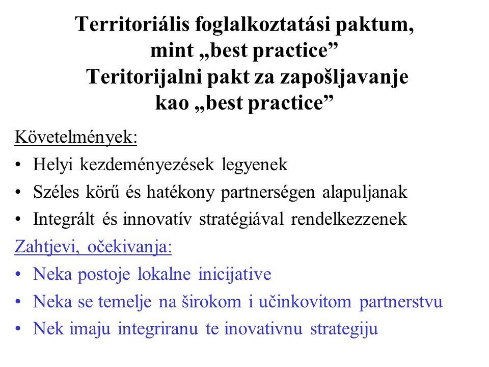 """Territoriális foglalkoztatási paktum, mint """"best practice Teritorijalni pakt za zapošljavanje kao """"best practice Követelmények: Helyi kezdeményezések legyenek Széles körű és hatékony partnerségen alapuljanak Integrált és innovatív stratégiával rendelkezzenek Zahtjevi, očekivanja: Neka postoje lokalne inicijative Neka se temelje na širokom i učinkovitom partnerstvu Nek imaju integriranu te inovativnu strategiju"""
