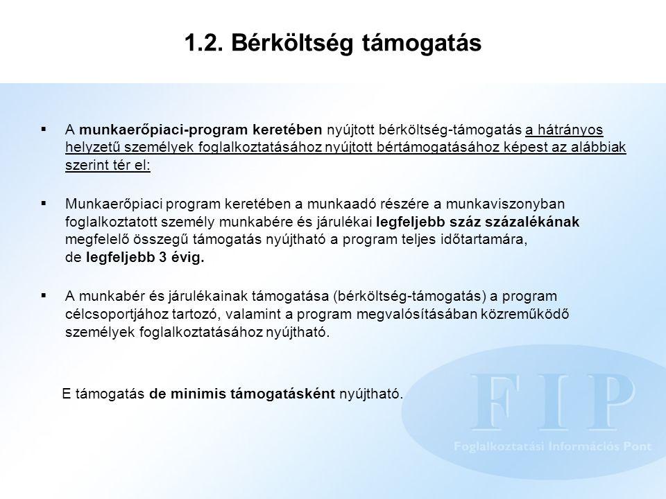 1.2. Bérköltség támogatás  A munkaerőpiaci-program keretében nyújtott bérköltség-támogatás a hátrányos helyzetű személyek foglalkoztatásához nyújtott
