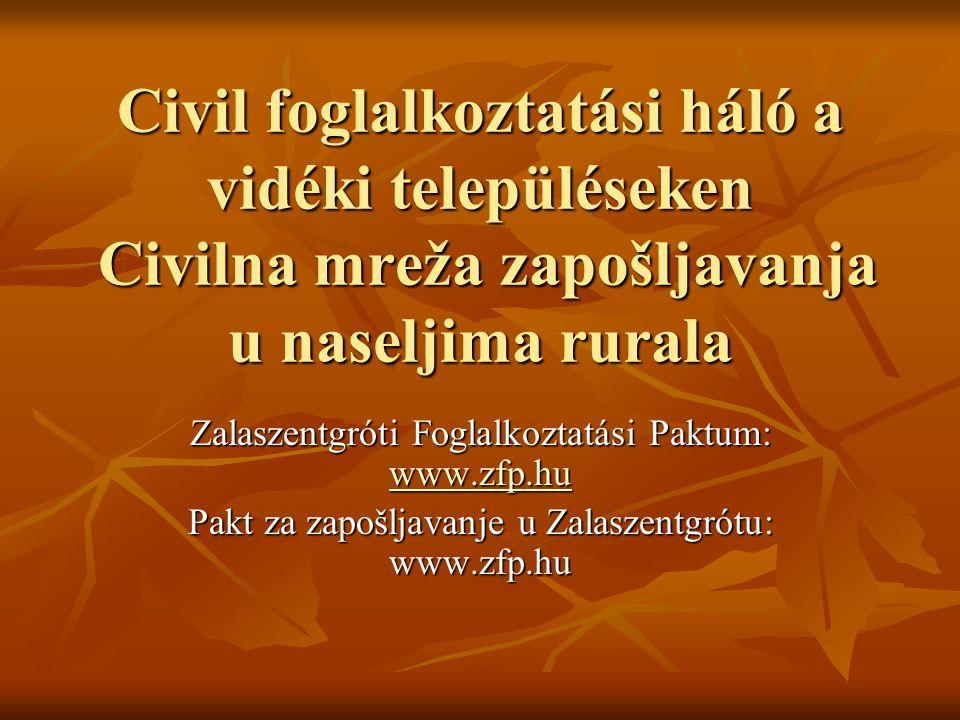 A közfoglalkoztatás formái Forme zapošljavanja javnog rada Foglalkoztatás önkormányzatnál Foglalkoztatás önkormányzatnál Munkaközvetítéssel foglalkoztatás más önkormányzatnál (háromoldalú megállapodás) Munkaközvetítéssel foglalkoztatás más önkormányzatnál (háromoldalú megállapodás) Foglalkoztatás más szervezeteknél (Vöröskereszt, Családsegítő Szolgálat) Foglalkoztatás más szervezeteknél (Vöröskereszt, Családsegítő Szolgálat) Brigádok létrehozása – térségi és projektszerű foglalkoztatás Brigádok létrehozása – térségi és projektszerű foglalkoztatás Zapošljavanje kod samouprava Zapošljavanje kod samouprava Zapošljavanje posredovanjem kod drugih samouprva (trilateralni sporazum o suradnji) Zapošljavanje posredovanjem kod drugih samouprva (trilateralni sporazum o suradnji) Zapošljavanje kod drugih organizacija (Crveni križ, Služba za skrb obitelji) Zapošljavanje kod drugih organizacija (Crveni križ, Služba za skrb obitelji) Utemeljenje radne brigade – zapošljavanje poput projekta i regionalnog smisla Utemeljenje radne brigade – zapošljavanje poput projekta i regionalnog smisla