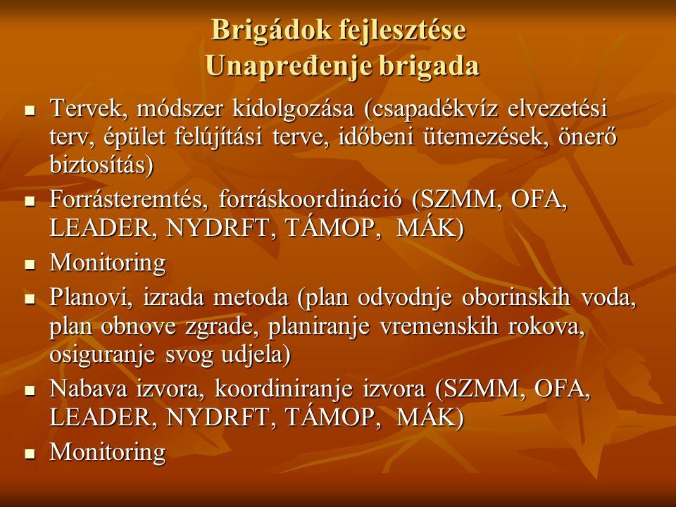 Brigádok fejlesztése Unapređenje brigada Tervek, módszer kidolgozása (csapadékvíz elvezetési terv, épület felújítási terve, időbeni ütemezések, önerő biztosítás) Tervek, módszer kidolgozása (csapadékvíz elvezetési terv, épület felújítási terve, időbeni ütemezések, önerő biztosítás) Forrásteremtés, forráskoordináció (SZMM, OFA, LEADER, NYDRFT, TÁMOP, MÁK) Forrásteremtés, forráskoordináció (SZMM, OFA, LEADER, NYDRFT, TÁMOP, MÁK) Monitoring Monitoring Planovi, izrada metoda (plan odvodnje oborinskih voda, plan obnove zgrade, planiranje vremenskih rokova, osiguranje svog udjela) Planovi, izrada metoda (plan odvodnje oborinskih voda, plan obnove zgrade, planiranje vremenskih rokova, osiguranje svog udjela) Nabava izvora, koordiniranje izvora (SZMM, OFA, LEADER, NYDRFT, TÁMOP, MÁK) Nabava izvora, koordiniranje izvora (SZMM, OFA, LEADER, NYDRFT, TÁMOP, MÁK) Monitoring Monitoring