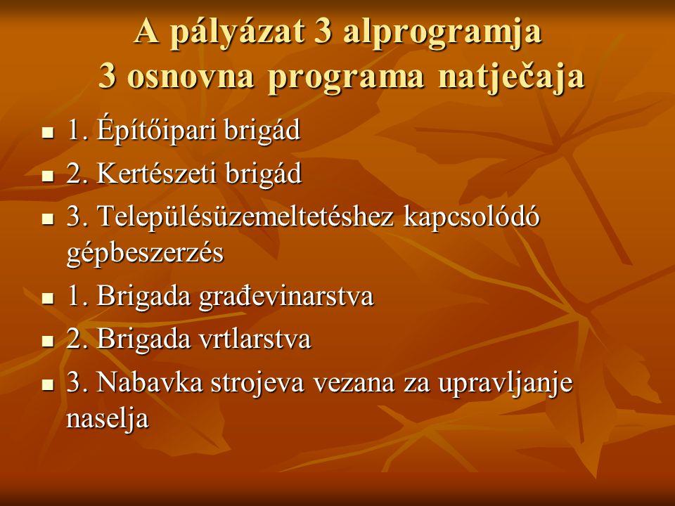 A pályázat 3 alprogramja 3 osnovna programa natječaja 1.