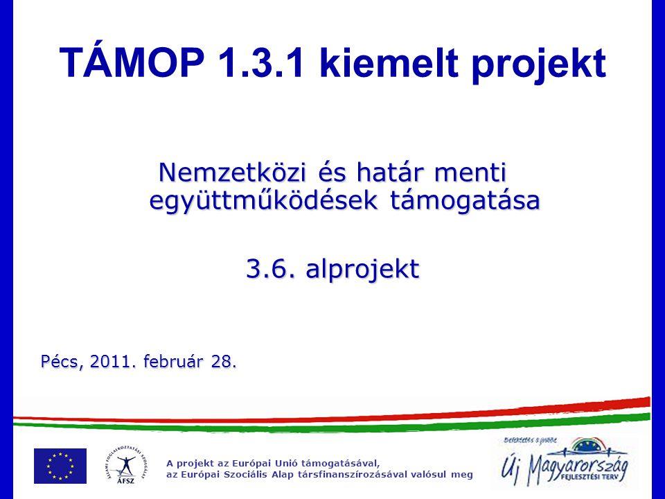 A projekt az Európai Unió támogatásával, az Európai Szociális Alap társfinanszírozásával valósul meg A projekt az Európai Unió támogatásával, az Európai Szociális Alap társfinanszírozásával valósul meg 1.3.1 kiemelt projekt és a 3.6 alprojekt 1.3.1 kiemelt projekt és a 3.6 alprojekt 3.6.