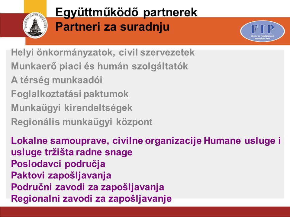 Együttműködő partnerek Partneri za suradnju Helyi önkormányzatok, civil szervezetek Munkaerő piaci és humán szolgáltatók A térség munkaadói Foglalkozt