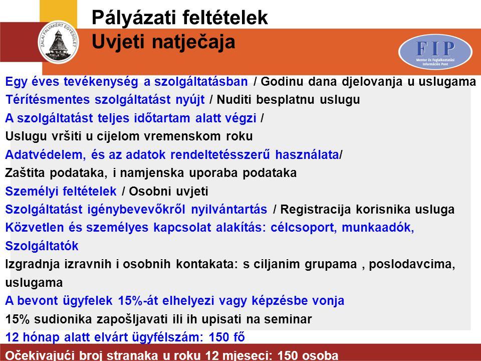 Pályázati feltételek Uvjeti natječaja Egy éves tevékenység a szolgáltatásban / Godinu dana djelovanja u uslugama Térítésmentes szolgáltatást nyújt / N