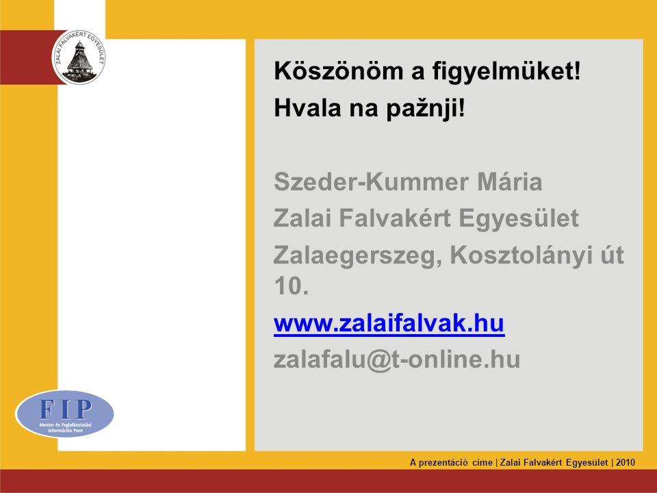 Köszönöm a figyelmüket! Hvala na pažnji! Szeder-Kummer Mária Zalai Falvakért Egyesület Zalaegerszeg, Kosztolányi út 10. www.zalaifalvak.hu zalafalu@t-