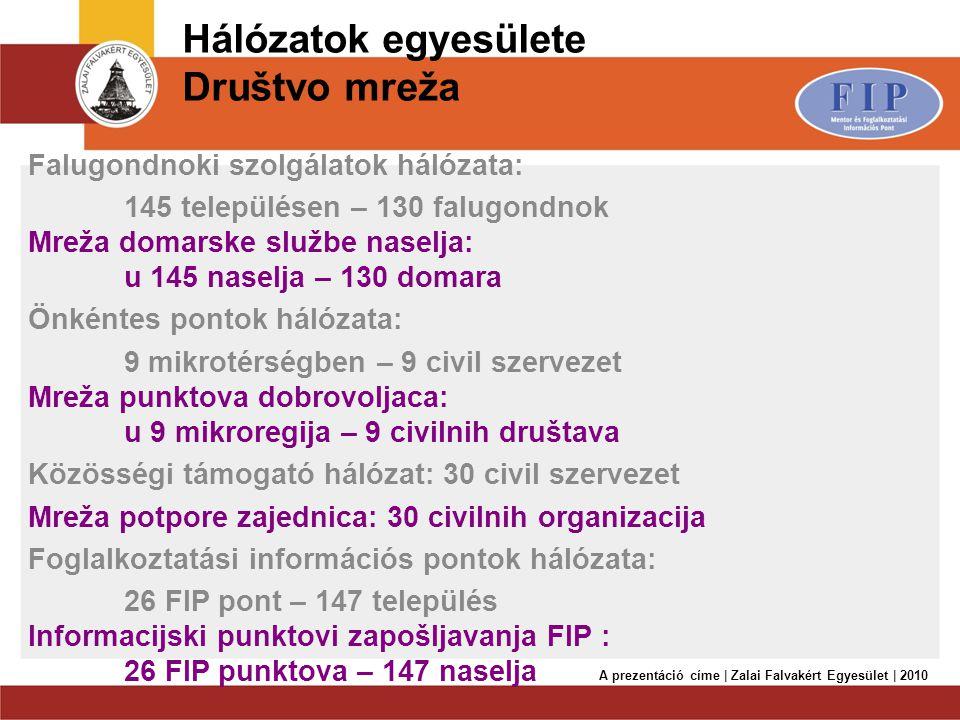 Hálózatok egyesülete Društvo mreža Falugondnoki szolgálatok hálózata: 145 településen – 130 falugondnok Mreža domarske službe naselja: u 145 naselja –
