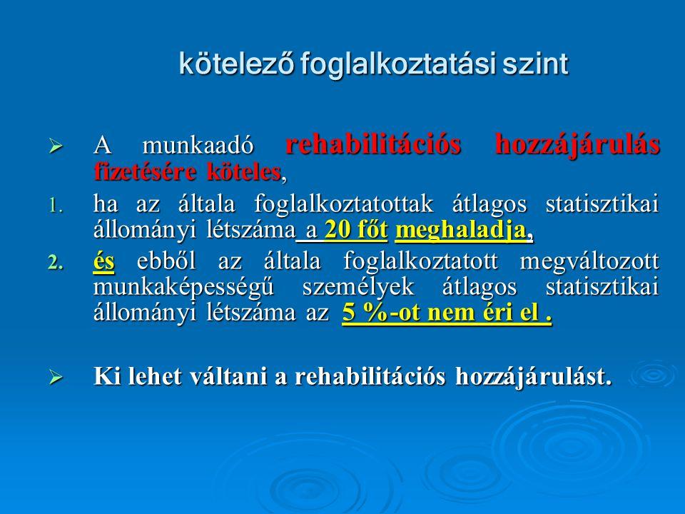 kötelező foglalkoztatási szint AAAA munkaadó rehabilitációs hozzájárulás fizetésére köteles, 1.
