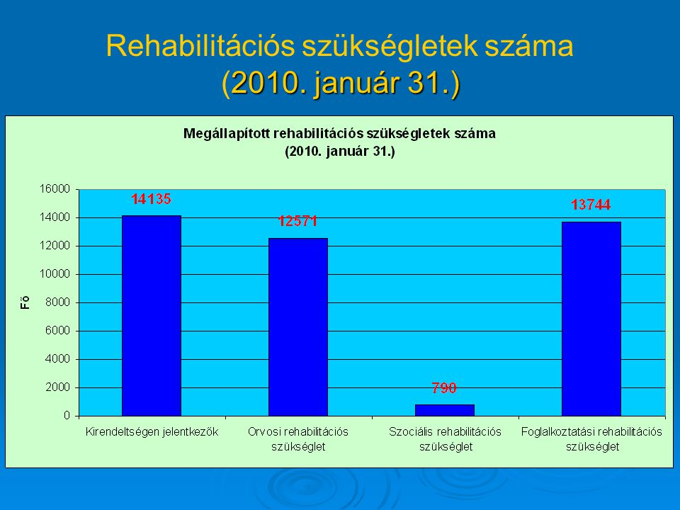 2010. január 31.) Rehabilitációs szükségletek száma (2010. január 31.)