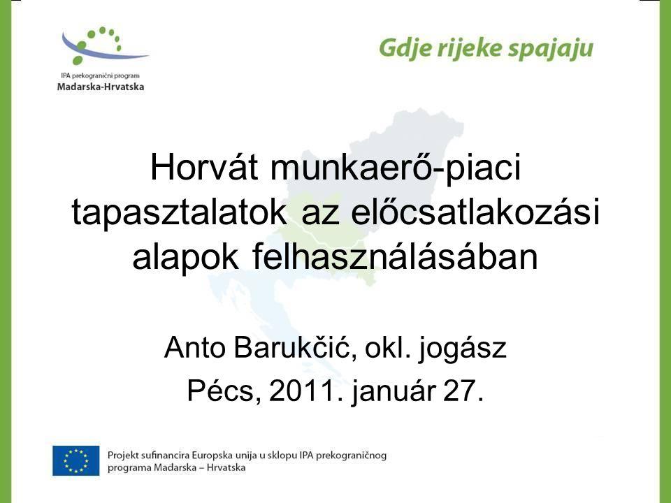 TÖBB MUNKÁRA ÉS JOBB MUNKÁKRA VALÓ KOMPETENCIA FOKOZÁSA, HÁLÓZATÉPÍTÉS ÉS OKTATÁS : 99.6 75, 65 EUR ÁLTALÁNOS CÉL : Munkanélküliség csökkentése Eszék-Baranya megyében és a térségben SPECIFIKUS CÉL :Oktatás és partnerség által felállítani az együttműködési rendszert a munkaerő-piaci szereplők között, annak érdekében, hogy Eszék- Baranya megyében növekedjen a foglalkoztatás hatékonysága és eredményessége TEVÉKENYSÉGEK : nyitó konferencia, olyanm munkacsoport létrehozása, mely az aktív foglalkoztatás-politikai intézkedésekkel és helyileg specifikus intézkedésekkel foglalkozik, ismertető anyag kidolgozása a herlyileg specifikus aktív foglalkoztatás-politikai intézkedésekről, oktatási program kifejlesztése a humán erőforrás gazdálkosáról a kis- és középvállalkozásoknak, a program kísérleti megvalósítása 50 résztvevővel, web platform kifejlesztése információcsere céljá b ól, záró konferencia