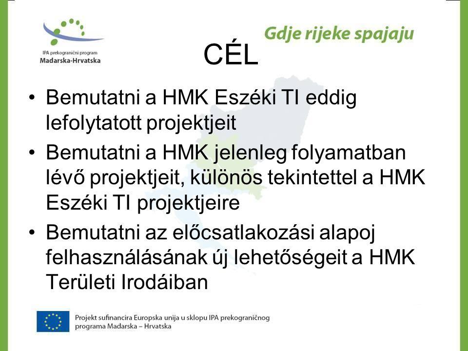 A HMK ESZÉKI TI-BAN MEGVALÓSULT PROJEKTEK INTERREG IIIA Slo-Hu-Cro – szomszédsági projekt GYÓGYNÖVÉNYHÁLÓZAT HATÁRON TÚLI PARTNEREK : HMK Eszéki TI és Dél-dunántúli Regionális Munkaügyi Központ AKTÍV NEMZETI PARTNEREK: Eszék- Baranja megye TÁRSULT PARTNEREK: HMK Virovitica, Križevci, Čakovec Területi Irodák IDŐTARTAM: 24 hónap (2006.