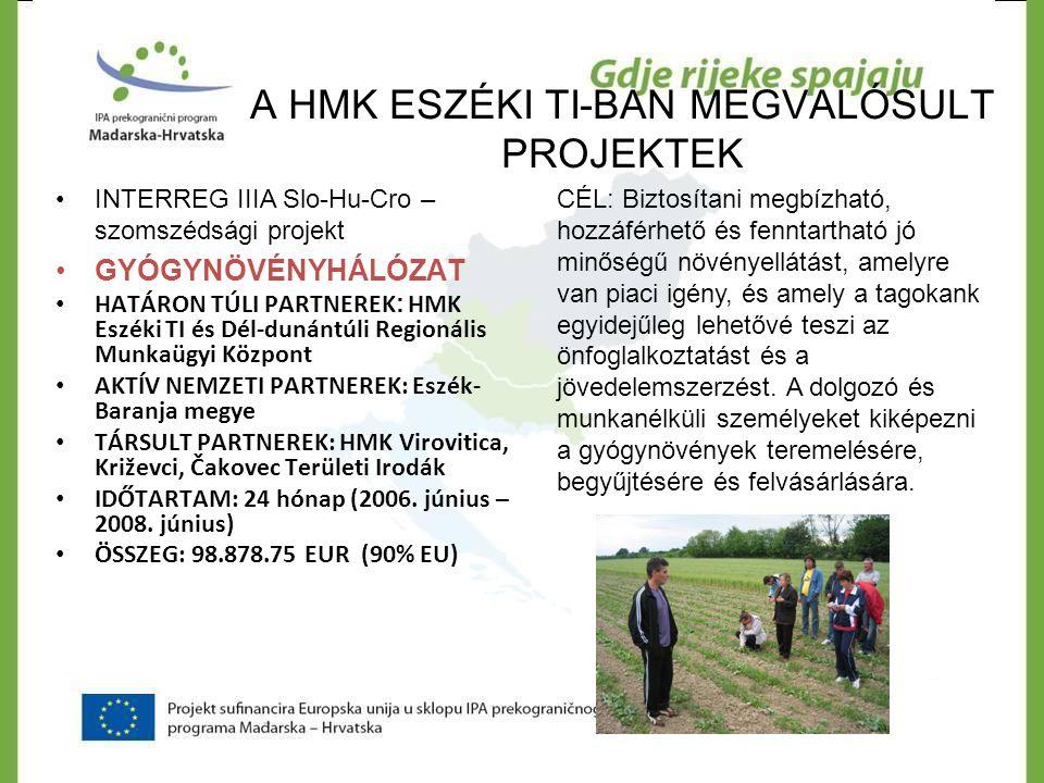 A HMK ESZÉKI TI-BAN MEGVALÓSULT PROJEKTEK INTERREG IIIA Slo-Hu-Cro – szomszédsági projekt PANNON TURIZMUS ÖSSZEG (CRO): 106.347,00 EUR EB ajándék összege: CRO - 78.696,78 EUR vagy74% Phare 2005 CBC, HU - 101.507,00 EUR HMK TÁRSFINANSZÍROZÁS ÖSSZEGE 27.650,22 EUR vagy 26% HATÁRON TÚLI PARTNER: Dél- dunántúli Regionális Munkaügyi Központ Pécs NEMZETI PARTNEREK: Horvár Gazdasági Kamara, Eszéki Megyei Kamara, HMK Virovitica, Križevci TI CÉL: Falusi turisztikai gazdaságok üzemeltetésére kidolgozni regionálisan specifikus oktatási programokat, melyek összhangban vannak a szakmai követelményekkel és ezt megvalósítani 30 résztvevővel