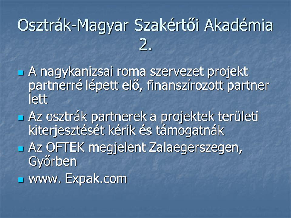 Osztrák-Magyar Szakértői Akadémia 2. A nagykanizsai roma szervezet projekt partnerré lépett elő, finanszírozott partner lett A nagykanizsai roma szerv