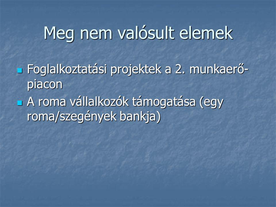 Meg nem valósult elemek Foglalkoztatási projektek a 2. munkaerő- piacon Foglalkoztatási projektek a 2. munkaerő- piacon A roma vállalkozók támogatása