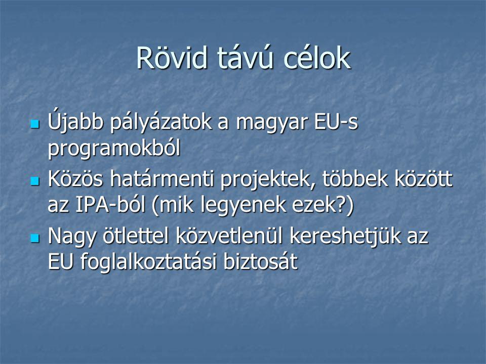 Rövid távú célok Újabb pályázatok a magyar EU-s programokból Újabb pályázatok a magyar EU-s programokból Közös határmenti projektek, többek között az IPA-ból (mik legyenek ezek ) Közös határmenti projektek, többek között az IPA-ból (mik legyenek ezek ) Nagy ötlettel közvetlenül kereshetjük az EU foglalkoztatási biztosát Nagy ötlettel közvetlenül kereshetjük az EU foglalkoztatási biztosát