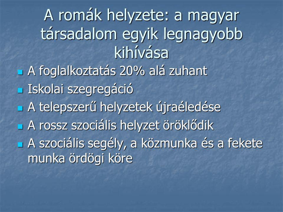 A romák helyzete: a magyar társadalom egyik legnagyobb kihívása A foglalkoztatás 20% alá zuhant A foglalkoztatás 20% alá zuhant Iskolai szegregáció Iskolai szegregáció A telepszerű helyzetek újraéledése A telepszerű helyzetek újraéledése A rossz szociális helyzet öröklődik A rossz szociális helyzet öröklődik A szociális segély, a közmunka és a fekete munka ördögi köre A szociális segély, a közmunka és a fekete munka ördögi köre