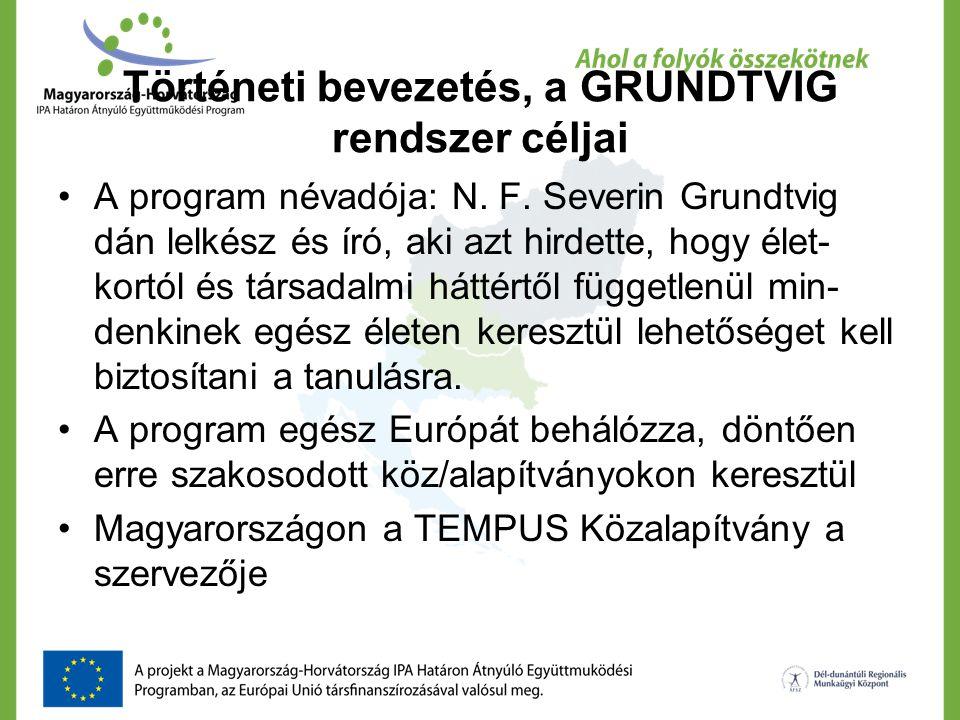 Történeti bevezetés, a GRUNDTVIG rendszer céljai A program névadója: N. F. Severin Grundtvig dán lelkész és író, aki azt hirdette, hogy élet- kortól é
