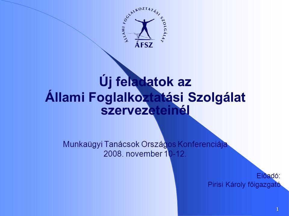 1 Új feladatok az Állami Foglalkoztatási Szolgálat szervezeteinél Munkaügyi Tanácsok Országos Konferenciája 2008. november 10-12. Előadó: Pirisi Károl