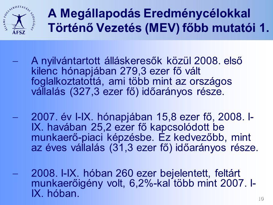 10 A Megállapodás Eredménycélokkal Történő Vezetés (MEV) főbb mutatói 1.  A nyilvántartott álláskeresők közül 2008. első kilenc hónapjában 279,3 ezer