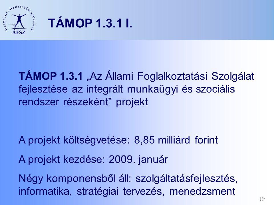 """19 TÁMOP 1.3.1 I. TÁMOP 1.3.1 """"Az Állami Foglalkoztatási Szolgálat fejlesztése az integrált munkaügyi és szociális rendszer részeként"""" projekt A proje"""