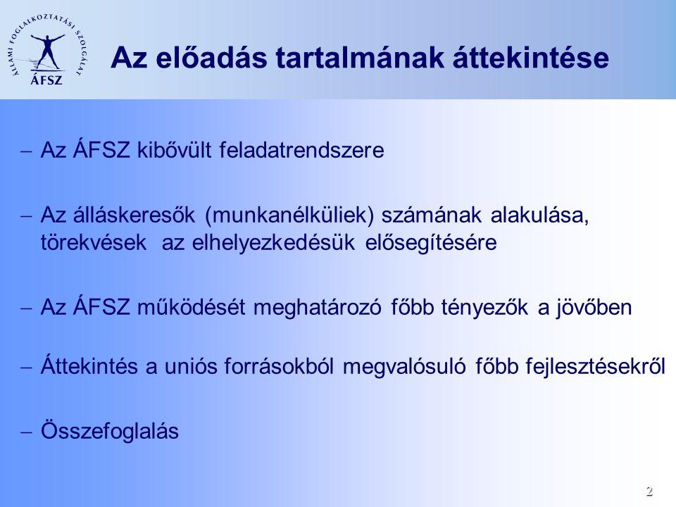 2 Az előadás tartalmának áttekintése  Az ÁFSZ kibővült feladatrendszere  Az álláskeresők (munkanélküliek) számának alakulása, törekvések az elhelyezkedésük elősegítésére  Az ÁFSZ működését meghatározó főbb tényezők a jövőben  Áttekintés a uniós forrásokból megvalósuló főbb fejlesztésekről  Összefoglalás