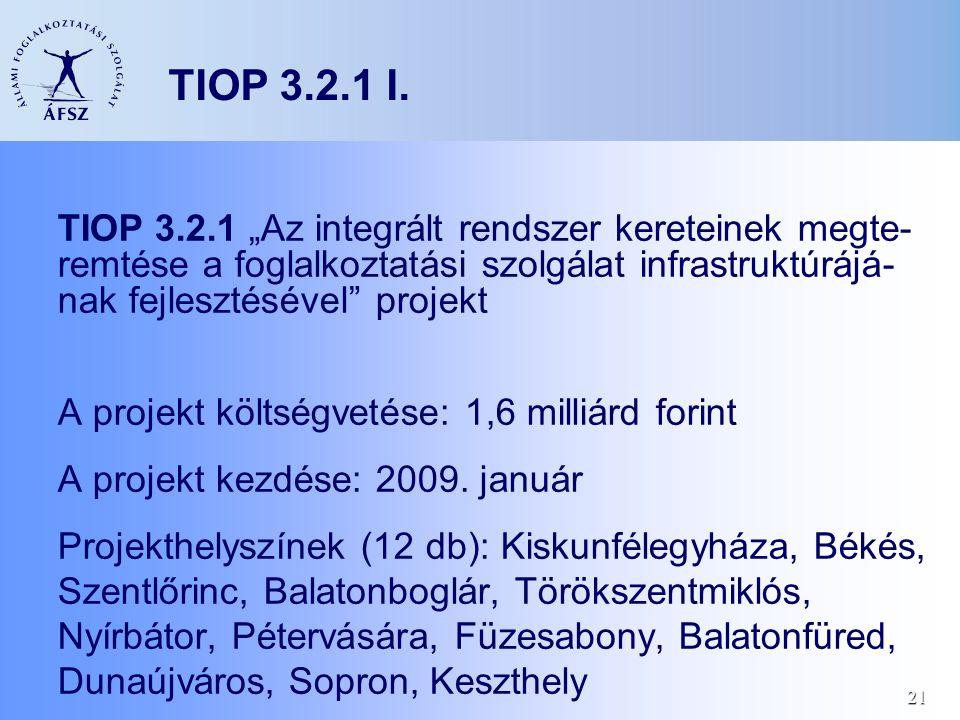 """21 TIOP 3.2.1 I. TIOP 3.2.1 """"Az integrált rendszer kereteinek megte- remtése a foglalkoztatási szolgálat infrastruktúrájá- nak fejlesztésével"""" projekt"""