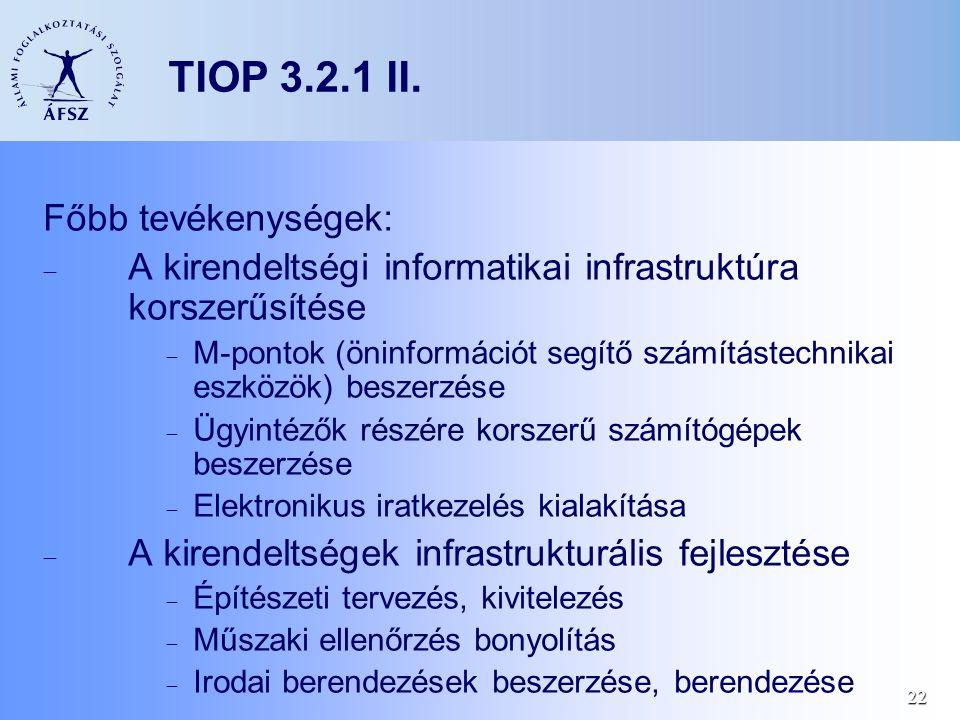 22 Főbb tevékenységek:  A kirendeltségi informatikai infrastruktúra korszerűsítése  M-pontok (öninformációt segítő számítástechnikai eszközök) besze