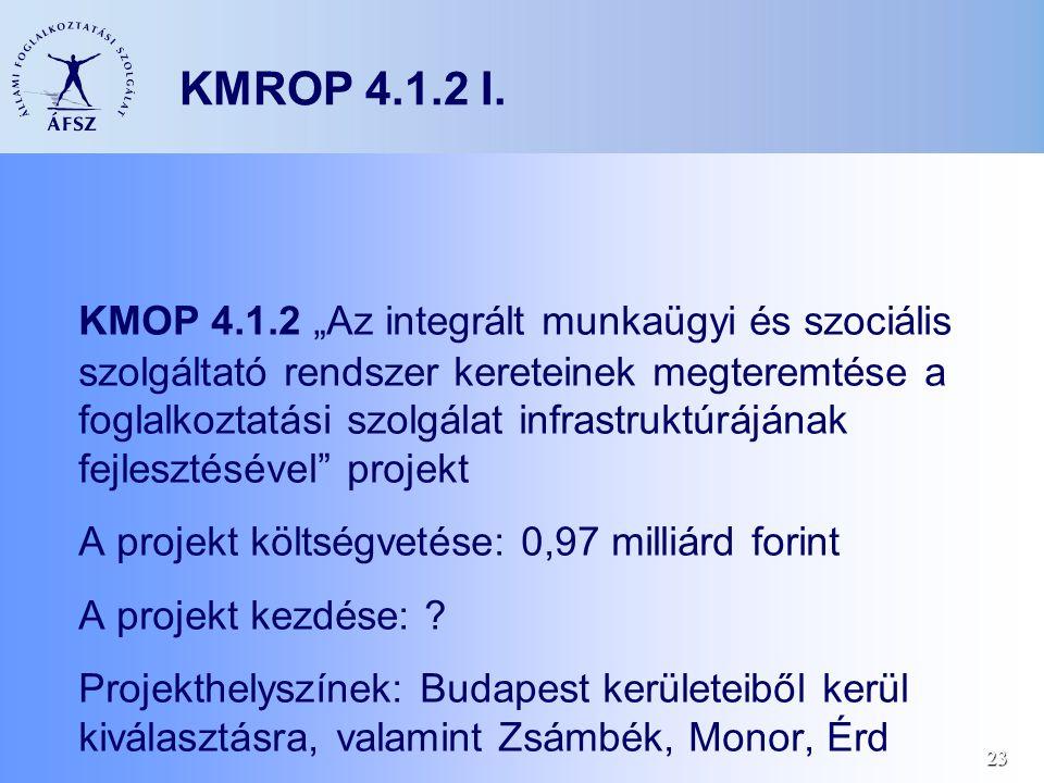 """23 KMROP 4.1.2 I. KMOP 4.1.2 """"Az integrált munkaügyi és szociális szolgáltató rendszer kereteinek megteremtése a foglalkoztatási szolgálat infrastrukt"""