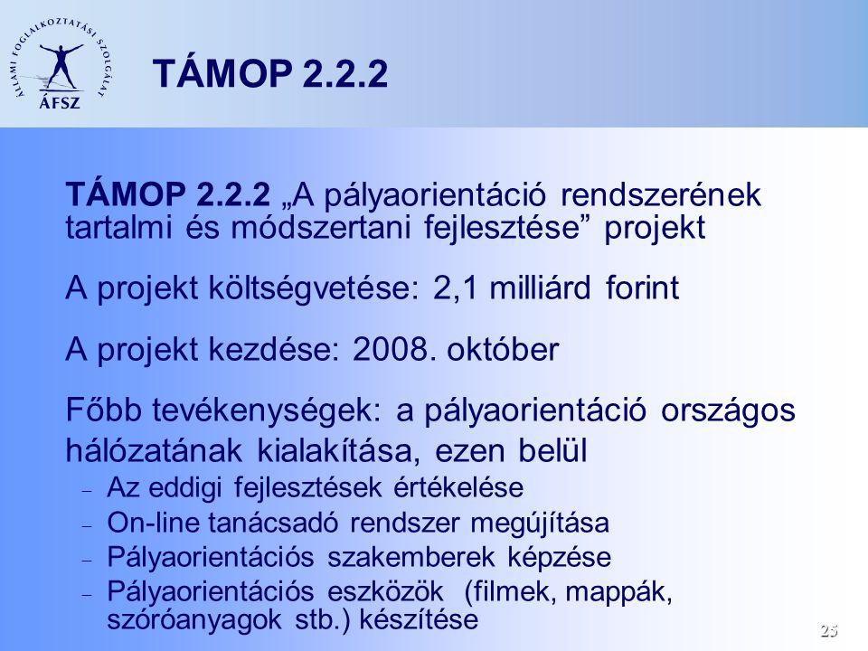 """25 TÁMOP 2.2.2 TÁMOP 2.2.2 """"A pályaorientáció rendszerének tartalmi és módszertani fejlesztése projekt A projekt költségvetése: 2,1 milliárd forint A projekt kezdése: 2008."""