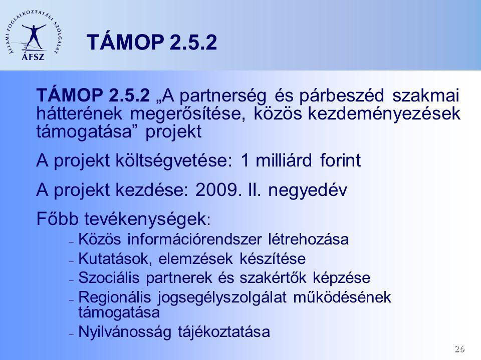 """26 TÁMOP 2.5.2 TÁMOP 2.5.2 """"A partnerség és párbeszéd szakmai hátterének megerősítése, közös kezdeményezések támogatása projekt A projekt költségvetése: 1 milliárd forint A projekt kezdése: 2009."""