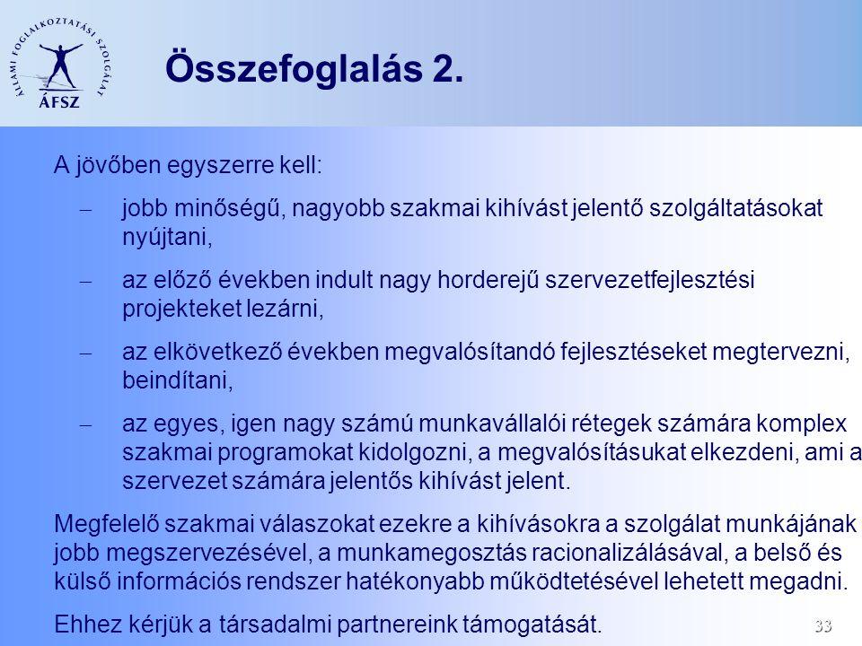 33 Összefoglalás 2. A jövőben egyszerre kell:  jobb minőségű, nagyobb szakmai kihívást jelentő szolgáltatásokat nyújtani,  az előző években indult n