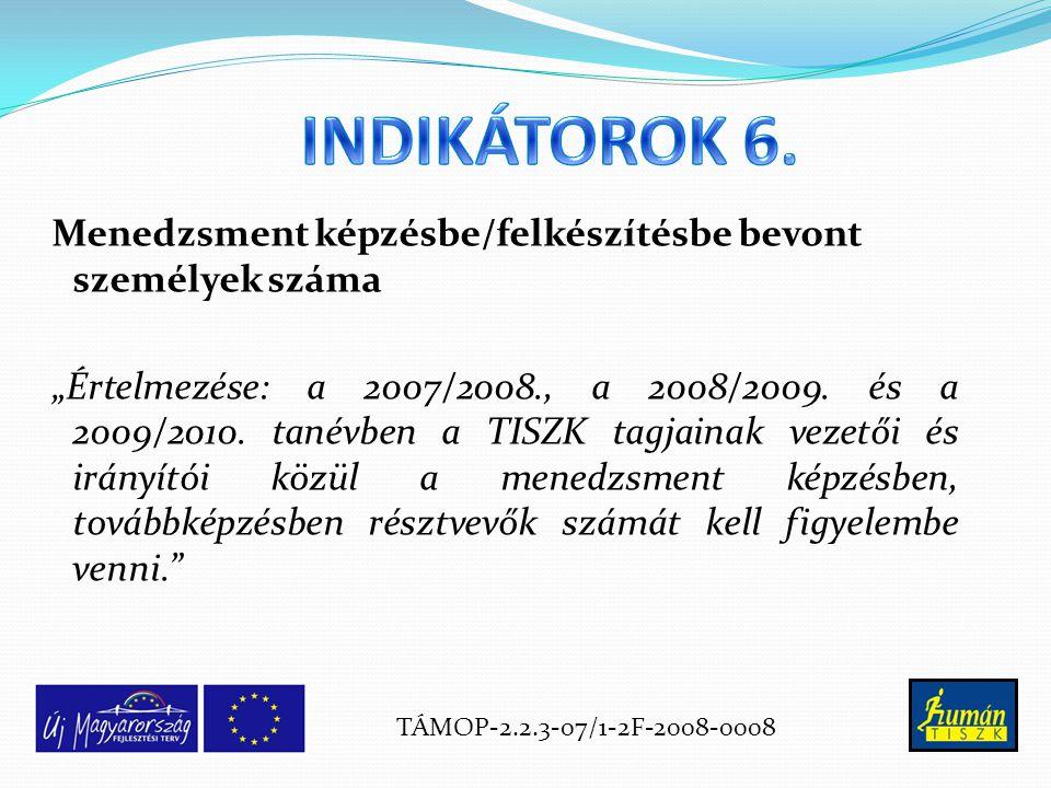 """Menedzsment képzésbe/felkészítésbe bevont személyek száma """"Értelmezése: a 2007/2008., a 2008/2009."""