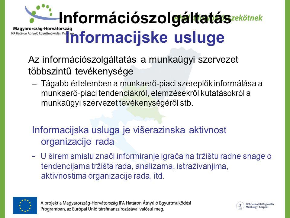 Információszolgáltatás Informacijske usluge Az információszolgáltatás a munkaügyi szervezet többszintű tevékenysége –Tágabb értelemben a munkaerő-piaci szereplők informálása a munkaerő-piaci tendenciákról, elemzésekről kutatásokról a munkaügyi szervezet tevékenységéről stb.