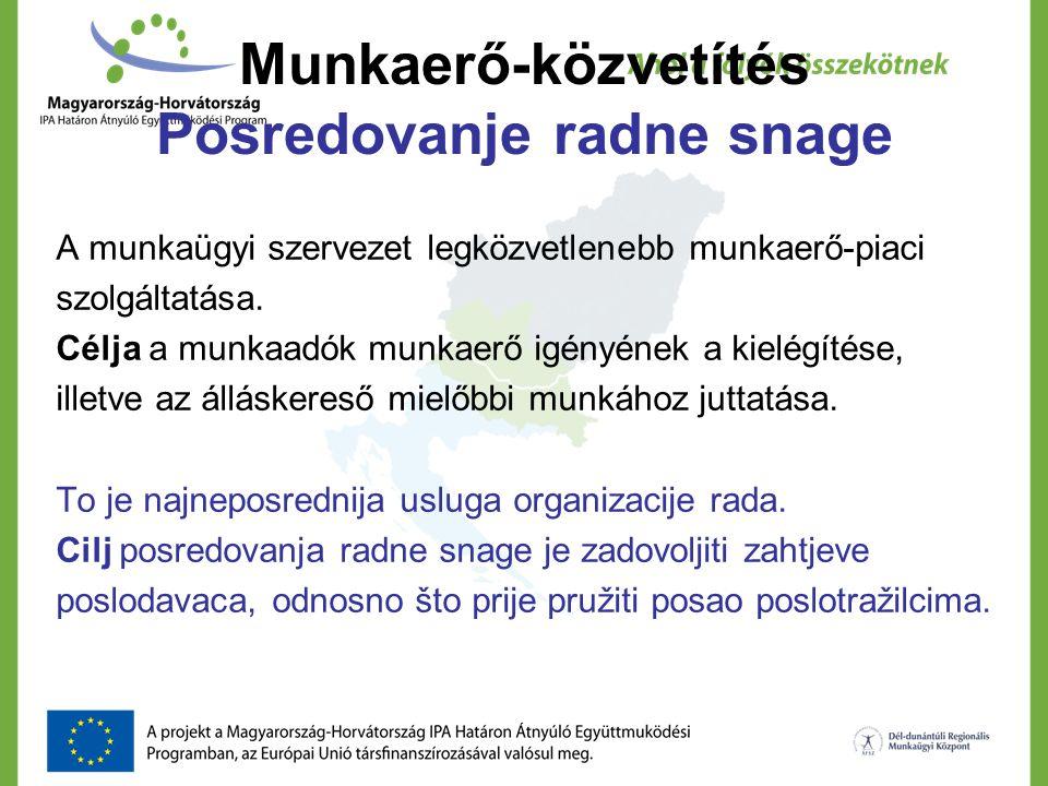 Munkaerő-közvetítés Posredovanje radne snage A munkaügyi szervezet legközvetlenebb munkaerő-piaci szolgáltatása. Célja a munkaadók munkaerő igényének