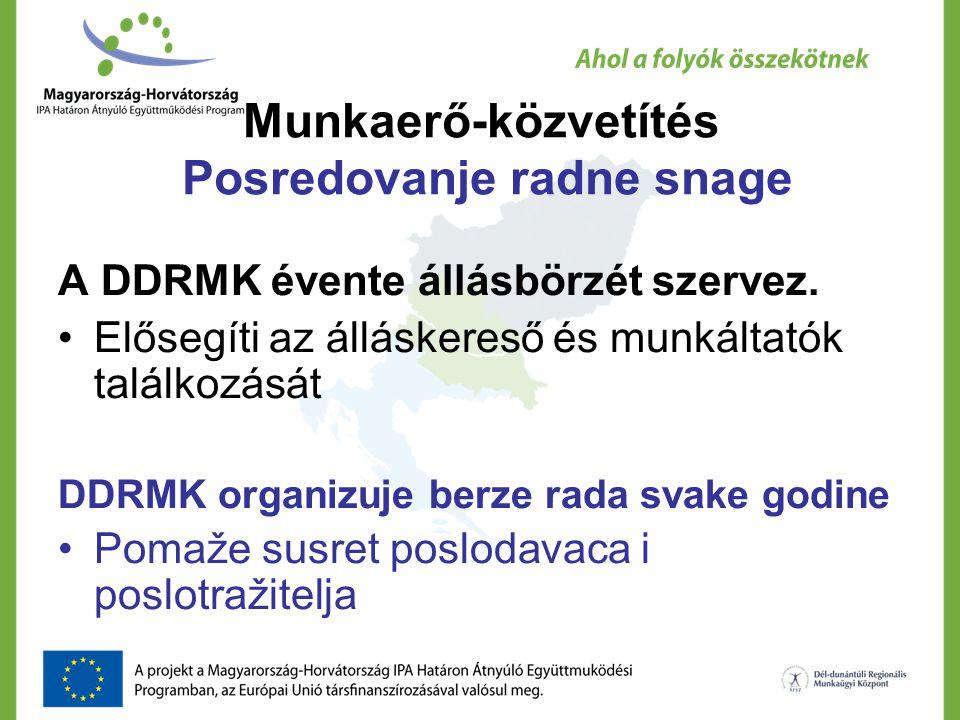 Munkaerő-közvetítés Posredovanje radne snage A DDRMK évente állásbörzét szervez. Elősegíti az álláskereső és munkáltatók találkozását DDRMK organizuje
