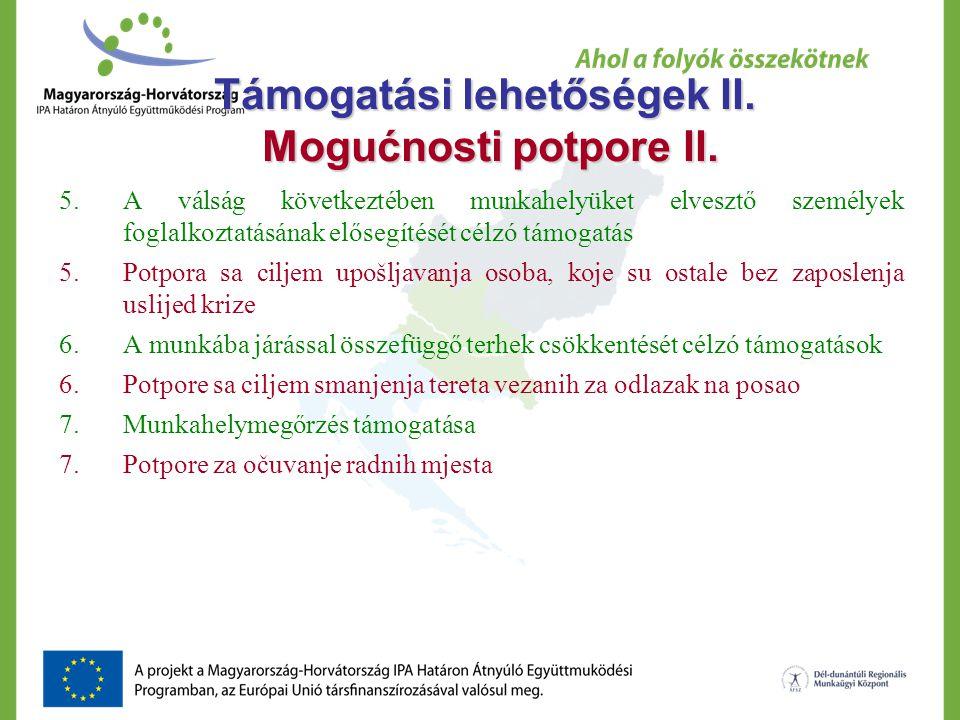 Támogatási lehetőségek II. Mogućnosti potpore II.