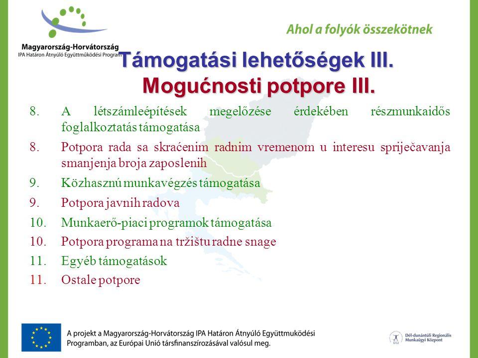 Támogatási lehetőségek III. Mogućnosti potpore III.